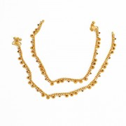 Jewbang coimbattore style maroon white Gold plated Anklets set for Girls n women JB741