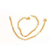 Jewbang Coimbatore style daily regular plain Gold plated Anklets set for Girls n women JB744