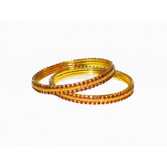 Celebrity Sparkling Gold Maroon Bangles for Women