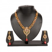 Gold plated Multi colour Kundan bollywood star plus style celebrity Necklace set for Women JB434