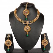Green White Kundan colour Peacock chakra bollywood style celebrity Necklace set for Women