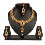 Gold plated Maroon White colour Kundan bollywood star plus style celebrity Necklace set for Women JB437