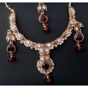 Gold plated Maroon White colour Kundan bollywood star plus style celebrity Necklace set for Women JB436