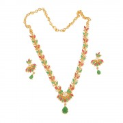 Gold plated Multi colour CZ American diamond stone necklace set for women n Girls JB732
