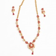 Gold plated celebrity model Pink white CZ american diamond stone necklace set for women n Girls JB735