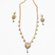 Gold plated Blue white CZ american diamond stone necklace set for women n Girls JB736