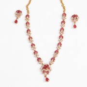Gold plated white Pink colour CZ american diamond stone necklace set for women n Girls JB737